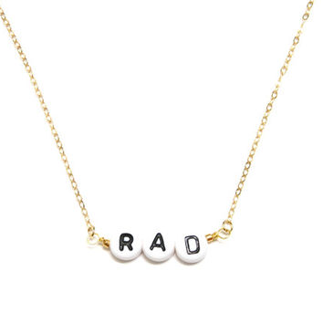 Alphabet Necklace / Monogram Necklace / Word Necklace / Letter Necklace / Rad Necklace / Personalized Necklace