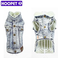 HOOPET Pet Puppy Winter Autumn Denim lambswool Waistcoat Vest Coat Apparel Costumes Clothes