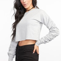 Cropped Rouched Sleeve Popover Sweater