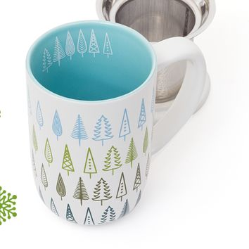 Forest Trees Nordic Mug - Large Sturdy Tea Mug With Stainless Steel Infuser | DavidsTea