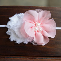 NEW ITEM White Shabby Chic and Pink Pearl Blossom Flower, Baby Girls Headband, Newborn Headband