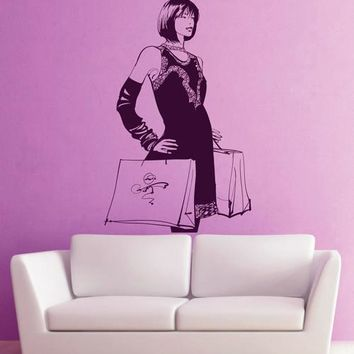 ik2416 Wall Decal Sticker beautiful girl with shopping shop stained glass window Hall