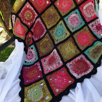 Colorful Lap Blanket, Crochet Sofa Throw, Granny Square Afghan, Pink Green Throw, Sofa Accent, Multicolor Lapghan, Cotton Wool Blend Throw