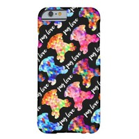 Colorful Triangle Pattern Pug Silhouette Pug Love Barely There iPhone 6 Case