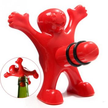 1Pcs Unique Funny Happy Red Man Guy Wine Stopper Novelty Bar Tools Wine Cork Bottle Plug Perky Interesting Gifts