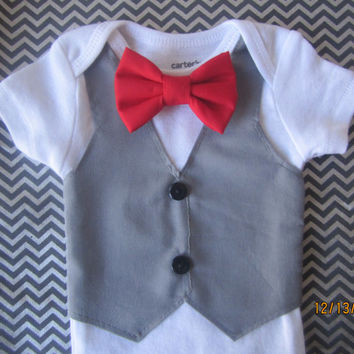 Grey vest onsie for boy, Baby grey vest outfit, boy red bow tie onsie, Boy X mas outfit, Boy bow tie Onesuit, Boy grey vest shirt