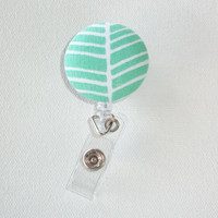 Retractable ID Badge Holder Reel  - Fabric Button  - mint green herringbone