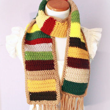 Multi-Color Scarf - Earthtone Southwest Unisex Crochet Scarf - Men's or Women's Fringe Scarf