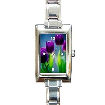 Easter Purple Tulips(Flowers) on a Womens Rectangular Silver Italian Charm Watch.. Think Small Wrist watches Q0-2CW3-B2RC