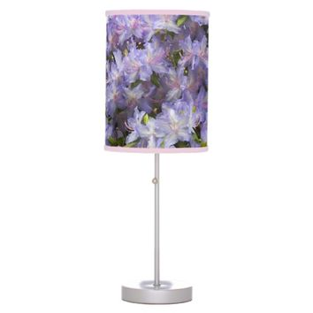 Purple Rhododendron Blossoms Floral Photo Table Lamp