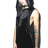 Widow Panther Crushed Velvet Hooded Top Black