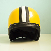 Vintage motorcycle helmet yellow black white stripe deadstock