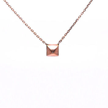 Solid 14 Karat Rose Gold Pyramid Necklace