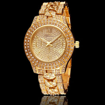Men Women Fashion Luxury Gold Diamond Bling Geneva Watch = 1956765956