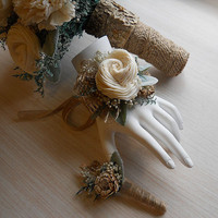 Rustic Woodland Wrist Corsage and/or Boutonniere, Rustic, Country, Bohemian, Woodland, Style Weddings. Made to Order.
