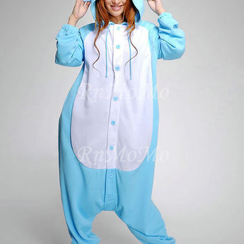 KIGURUMI Cosplay Romper Charactor animal Hooded PJS Pajamas Pyjamas Xmas gift  Adult  Costume sloth  outfit Sleepwear-Elephant