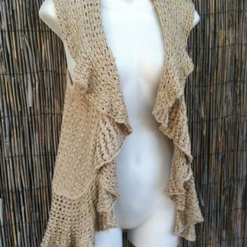 INC  M Sleeveless Open Knit Cascade Ruffle Cardigan Boho Sweater Vest Tan Beige