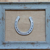 NEW! Shabby Chic Frame w Used Horseshoe painted silver w khaki burlap background, framed horseshoe,horseshoe, decorated horseshoe