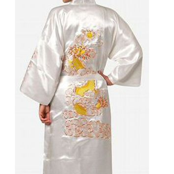 White Chinese Men's Traditional Embroidery Satin Robe Dragon Kimono Bath Gown Male Sleepwear Plus Size XXXL