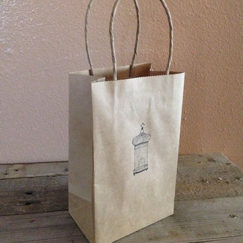 Antique birdcage hand stamped gift bag