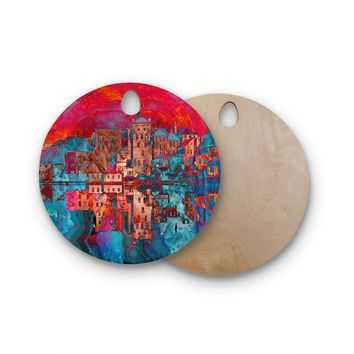 "Suzanne Carter ""Marbled Skyline"" Red Blue Round Wooden Cutting Board"