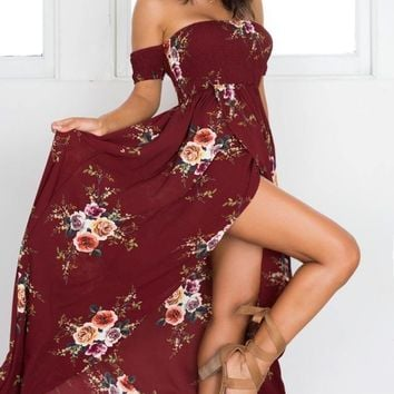 Red Floral Print Off Shoulder Boho Gypsy Style Long Dress