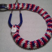 Patriotic Red White and Blue Stethoscope Cover, Nurses Stethoscope Covers, LPN, RN, CNA, medical fashion accessories, crochet