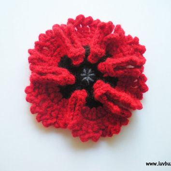 Large Red Poppy Flower Applique crochet set of five, MADE TO ORDER.