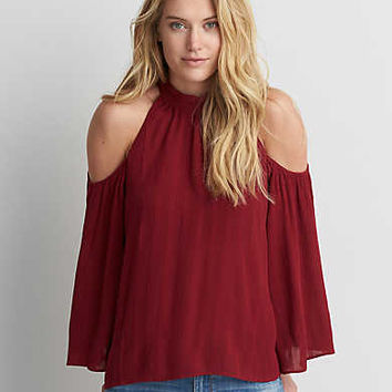 AEO Cold Shoulder Bell Sleeve Top , Red
