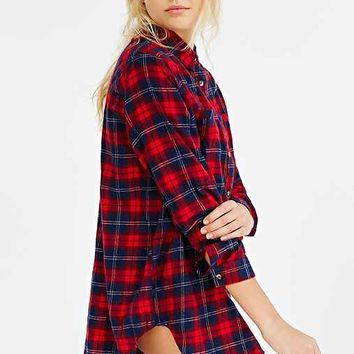 BDG Obie Flannel Button-Down Shirt- Pink