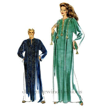 1990s KOKO BEALL UNISEX Loose Fitting Pullover Caftan Evening Floor Length Vogue 7018 UnCUT Women's Men's Sewing Patterns One Size Fits Most