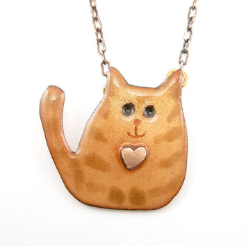 Little Cat with a Big Heart Necklace
