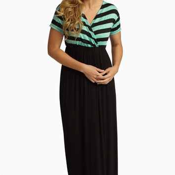 Mint Green Black Striped Top Maxi Dress