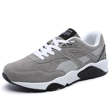 2017New Nubuck Leather Men Sport Trainer Running Shoes Mesh Round Head Athletic Shoes Breathable Wearable Sneakers Free Shipping