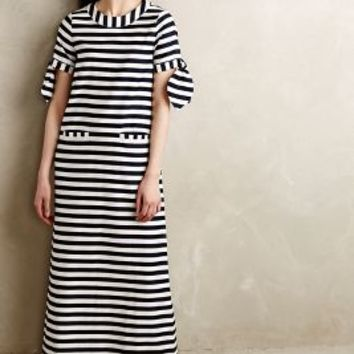 Breton Striped Maxi Dress by Vanessa Tao Blue Motif