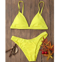 Hot sale simple straps pure color yellow two piece bikini swimsuit set for women 8 color