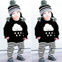 2pc Toddler Kids Baby Boy T-shirt Tops+Long Pants Trousers Outfits Clothing Set