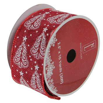 """Pack of 12 Cranberry Red and White Trees Burlap Wired Christmas Craft Ribbon Spools - 2.5"""" x 120 Yards Total"""