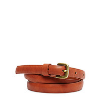 Textured Faux Leather Skinny Belt