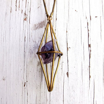Geometric Necklace Raw Amethyst Crystal Octahedron Custom Metalwork Brass Pendulum