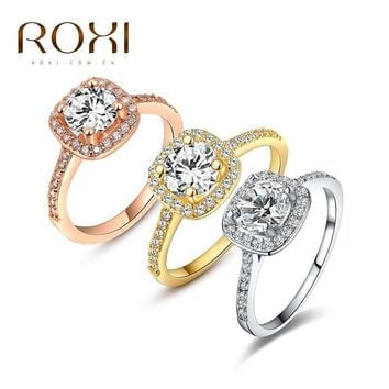 Rings Platinum/ Rose Gold Plated AAA zirconium