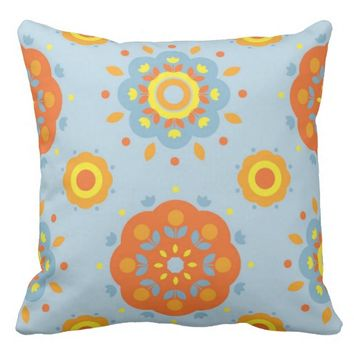 Orange Yellow Blue Throw Pillow