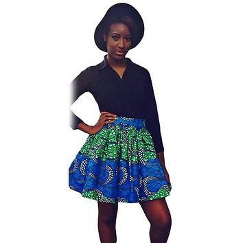 Greenish Print Skater African Style Mini Skirt