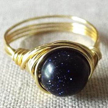 Blue Goldstone Ring - Glitter Ring - Blue Stone Ring - Sparkle Ring - Simple Ring - Wire Wrapped Jewelry Handmade - Homemade Jewelry