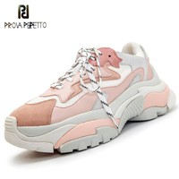Prova Perfetto Genuine Leather Mesh Women's Platform Chunky Sneakers 2018 Fashion Women Flat Thick Sole Shoes Woman Dad Footwear