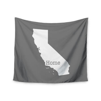 """Bruce Stanfield """"California Is Home"""" Gray White Wall Tapestry"""