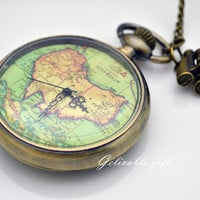 Antique brass Oceania Australia map pocket watch necklace, telescope adventure necklace NWAU01