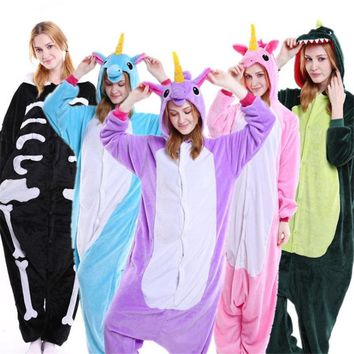 Lovers Couples Matching Pajamas Hot Flannel Unisex Adult Lounge Wear Kigurumi Costume Animal Onesuit Sleepwear Suit For Women Men