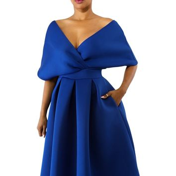 Royal Blue Show Off Shoulders V Neck Formal Swing Dress