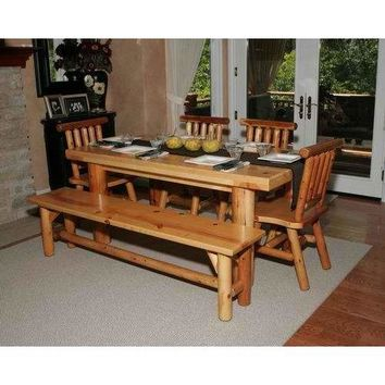 Moon Valley Rustic Cedar Kitchen Table Set  With 1 Table, 2 Chairs, 2 Benches